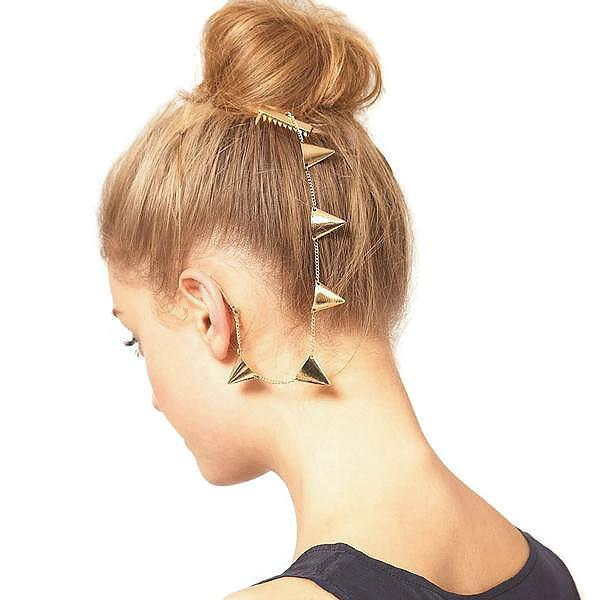 Hair Accesories Gold Triangle Chain Slide Ear Cuff Wear With Love