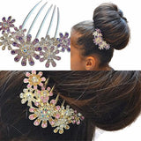 Hair Accesories Large Rhinestone Flower Comb Wear With Love