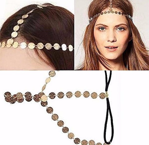 Hair Accesories Metal Coin Disc Chain Headband Wear With Love