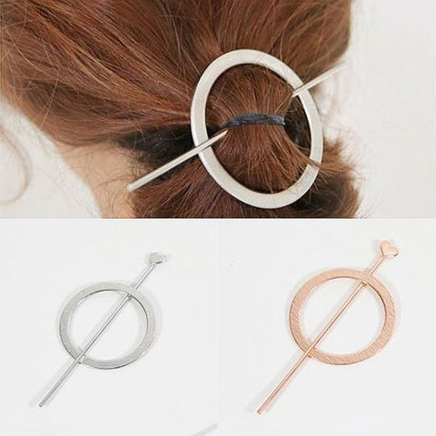 Hair Accesories Minimalist Open Circle Pin Ponytail Holder Wear With Love