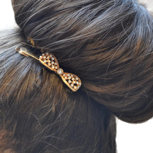 Hair Accesories Pearl And Rhinestone Gold Bow Slide Wear With Love