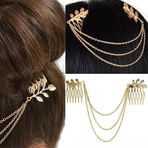 Hair Accesories Pretty Gold Leaf Multi Chain Slides Wear With Love