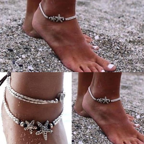 Hair Accesories Silver Boho Starfish Bijoux Foot Anklet Wear With Love