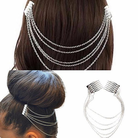 Hair Accesories Silver Chain Double Combs Wear With Love