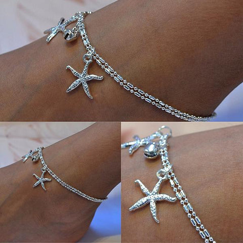Hair Accesories Silver Chain Starfish Bijoux Foot Anklet Wear With Love