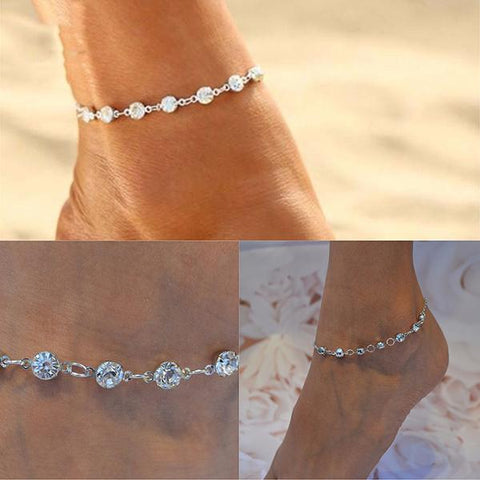 Hair Accesories Silver Rhinestone Chain Foot Anklet Wear With Love