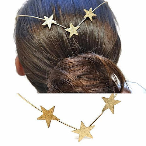 Hair Accesories Three Star Gold Boho Back Headband Wear With Love