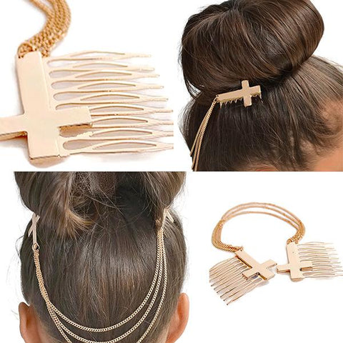 Hair Accesories Unique And Modern Double Gold Cross Chain Slide Comb Wear With Love