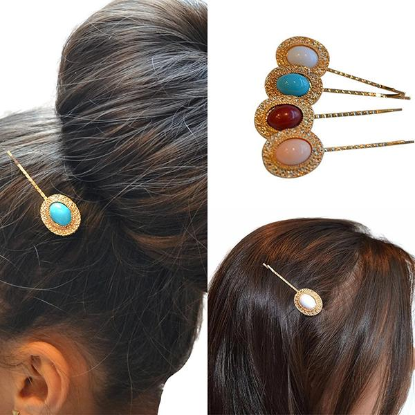 Hair Accesories Vintage Style Gold Art Deco Oval Bobby Pins Clips Wear With Love
