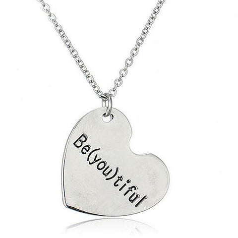 Hand Stamped Be(You)Tiful Silver Heart Necklace Wear With Love