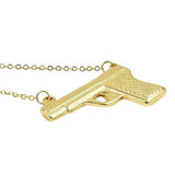 Hand Stamped Celebrity Rhianna Style Pistol Gold Pendant Necklace Wear With Love