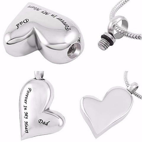Hand Stamped Dad Always In My Heart Father Shape Memorial Pendant Necklace Wear With Love
