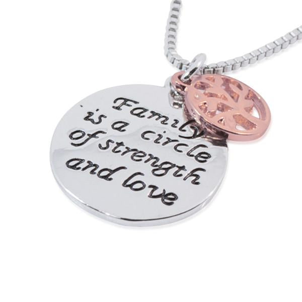 Hand Stamped Family Is The Circle Of Strength And Love Necklace Wear With