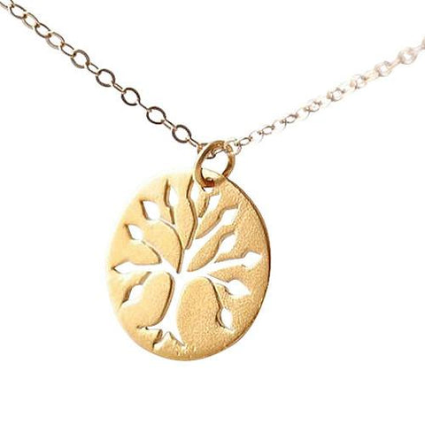 Hand Stamped Gold Family Tree Disc Pendant Necklace Wear With Love