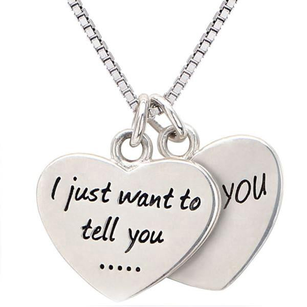 Hand Stamped I Just Want To Tell You Love  Double Heart Necklace Wear With