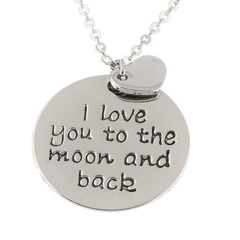 Hand Stamped I Love You To The Moon And Back Necklace Wear With