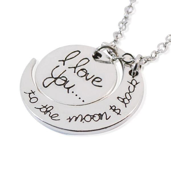 Hand Stamped I Love You To The Moon And Back Silver Necklace Wear With