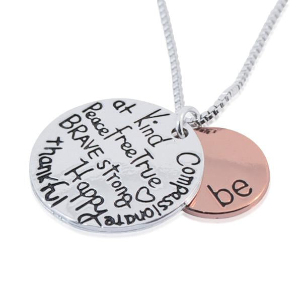Hand Stamped Inspirational Positive Charm Necklace Wear With Love