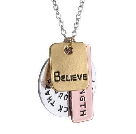 Hand Stamped Inspirational Worded  Charm Necklace Wear With Love