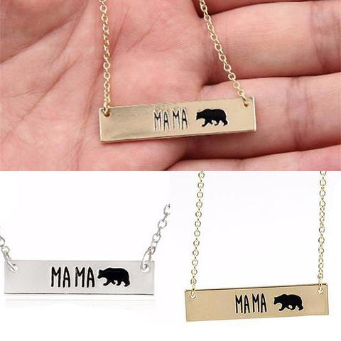 Hand Stamped Mama Bar Pendant Necklace Wear With Love