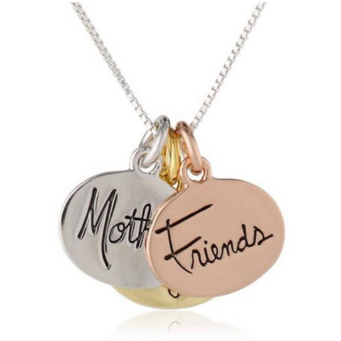 Hand Stamped Mother Daughter Friends Three Tone Charm Necklace Wear With Love