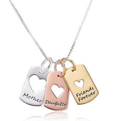 Hand Stamped Mother,daughter,friends Forever Necklace Wear With Love