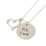 Hand Stamped P.s I Love You Silver Necklace Wear With