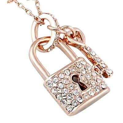 Hand Stamped Rose Gold Plated Crystal Lock And Key Pendant Necklace Wear With Love