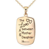 Hand Stamped Sentimental Love Between A Mother & Daughter Necklace Wear With