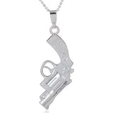 Hand Stamped Silver Celebrity Style Pistol Revolver Gun Pendant Necklace Wear With Love