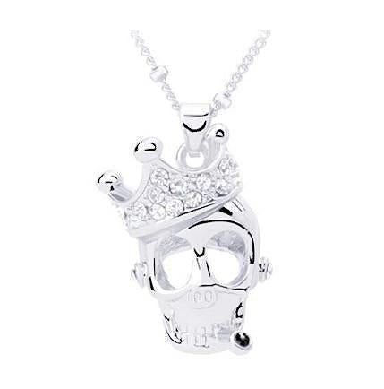 Hand Stamped Silver Crystal Skull Necklace Pendant Wear With Love