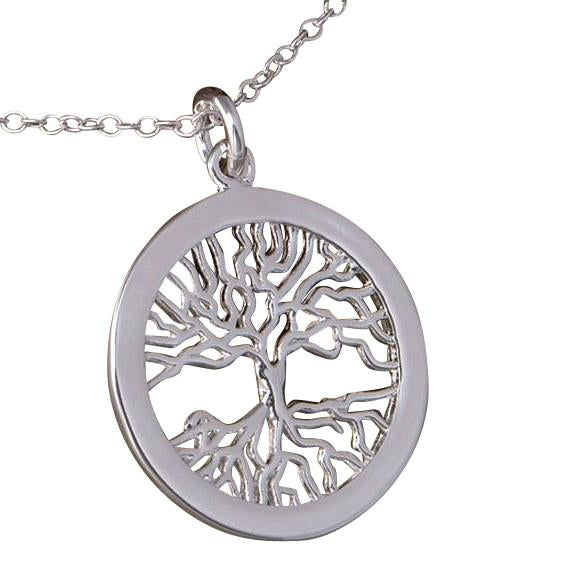 Hand Stamped Silver Lucky Wishing Tree Disc Pendant Necklace Wear With Love