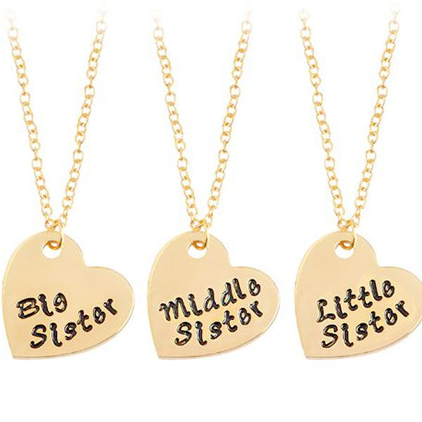 Hand Stamped Sisters Sibling Heart Pendant Necklaces Wear With Love