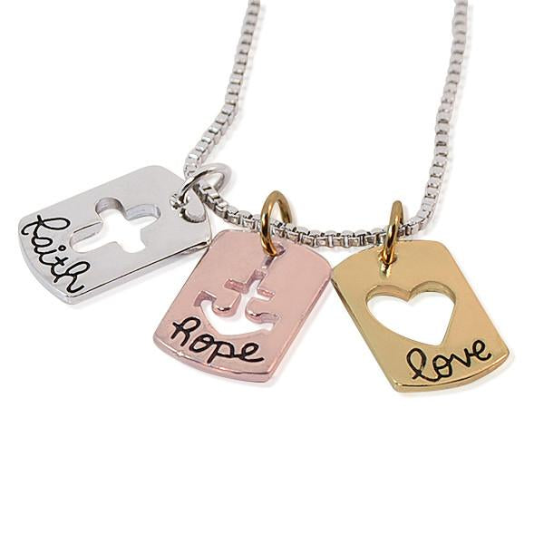 Hand Stamped Tri Colour Love Hope Faith Necklace Wear With