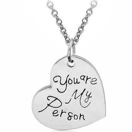 Hand Stamped You Are My Personsilver Heart Pendant Necklace Wear With Love