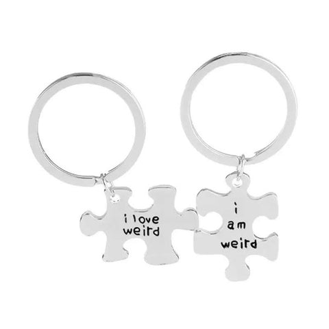 """ I Am Weird "" I Love Weird "" Jigsaw Puzzle Key Rings"