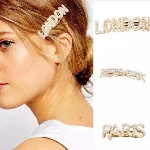 pearl city worded hair slides