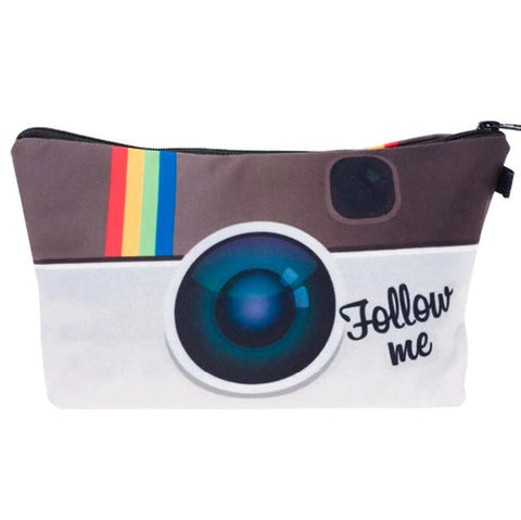 Instagram Follow Me Camera Logo Makeup Bag