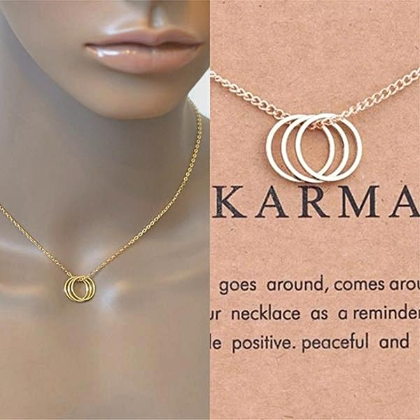 karma three ring necklace