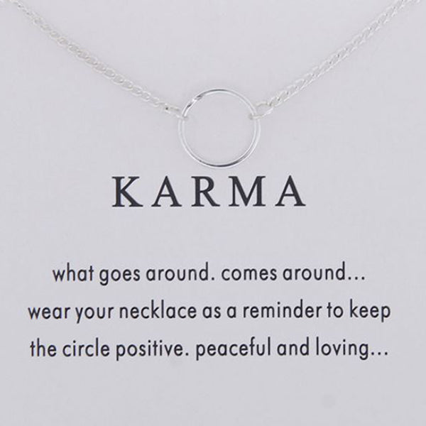 silver karma circle necklace