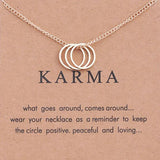 karma three ring necklace charm