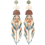 Handmade Bohemian Wood & Tassel Festival Earrings