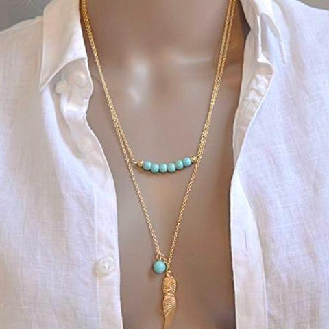 Feather And Beads Double Chain Necklace