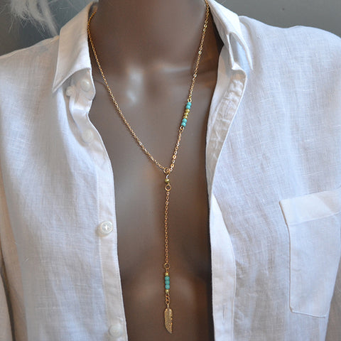 Turquoise & Gold Lariat Bohemian Beaded Feather Chain Necklace