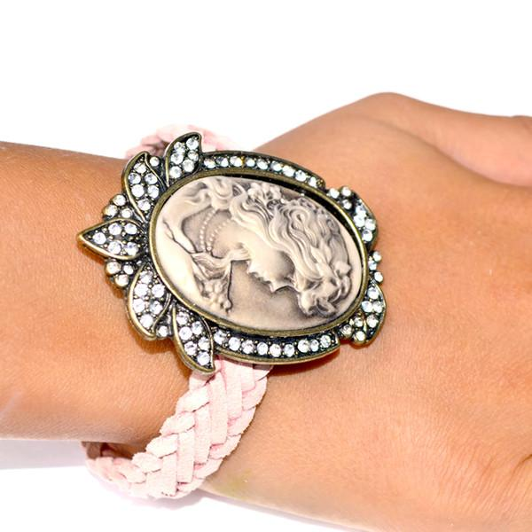 Leather Bracelets Candy Pink Vintage Style Cameo Bracelet Wear With Love