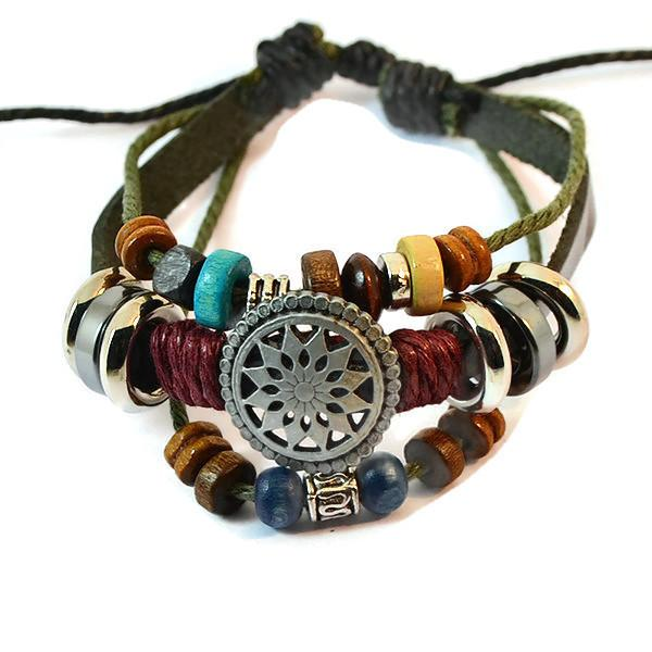 Leather Bracelets Charm Bracelet Wear With Love