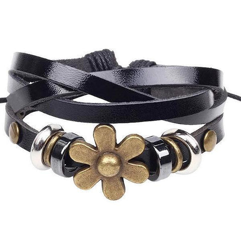 Leather Bracelets Daisy Black Charm Bracelet Wear With Love