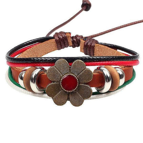 Leather Bracelets Daisy Bracelet Wear With Love