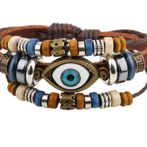Leather Bracelets Evil Eye Charm Bracelet Wear With Love