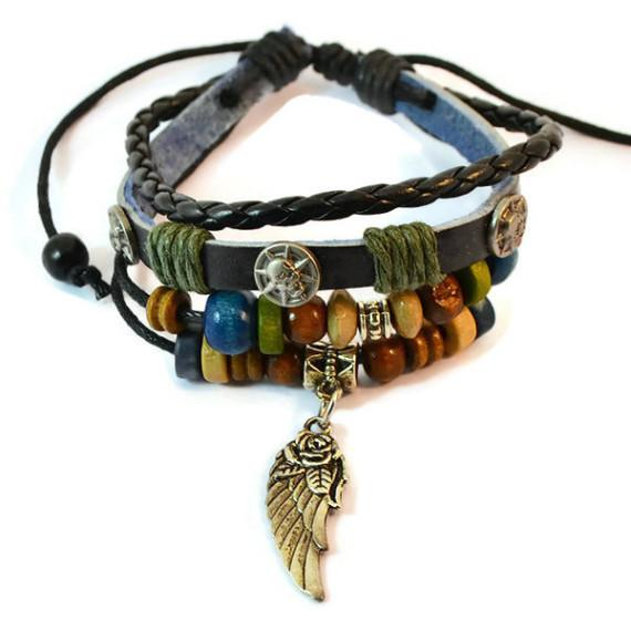 Leather Bracelets & Feather Charm Bracelet Wear With Love